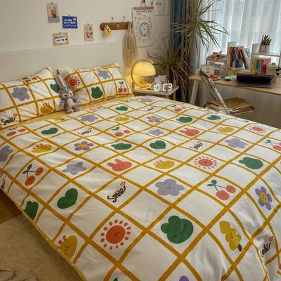 2021新款13372全棉活性甜梦系四件套 1.5m床单款四件套 11萌宠派对黄格