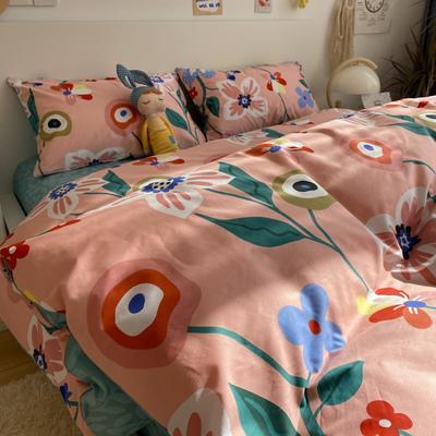 2021新款13372全棉活性甜梦系四件套 1.5m床单款四件套 花语浪漫