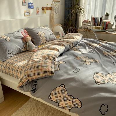 2021新款13372全棉活性甜梦系四件套 1.5m床单款四件套 泰迪宝贝-灰