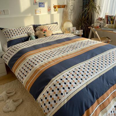 2021新款13372全棉活性甜梦系四件套1 1.5m床单款四件套 小菱形格