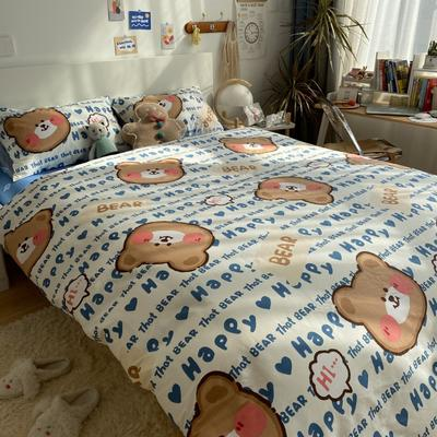 2021新款13372全棉活性甜梦系四件套1 1.5m床单款四件套 熊孩子