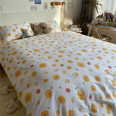 2021新款13372全棉活性甜梦系四件套2 1.5m床单款四件套 花语黄