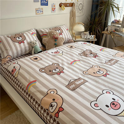 2021新款13372全棉活性甜梦系四件套2 1.5m床单款四件套 莫斯熊