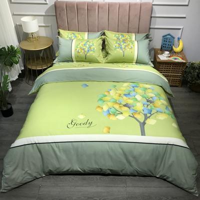2021新款斜纹加厚全棉磨毛大版系列四件套(第二波) 1.2m床单款三件套 彩虹树