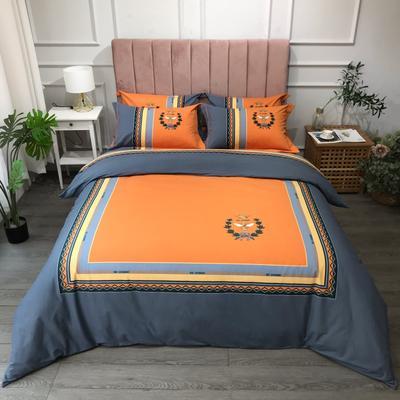 2021新款斜纹加厚全棉磨毛大版系列四件套(第二波) 1.2m床单款三件套 梵尔赛橘