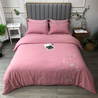 2021新款生态磨毛纯色刺绣四件套-飘叶系列(实拍图) 1.8m床单款四件套 飘叶-豆沙
