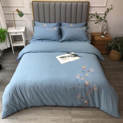2021新款生态磨毛纯色刺绣四件套-飘叶系列(实拍图) 1.8m床单款四件套 飘叶-蓝