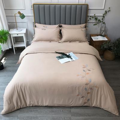 2021新款生态磨毛纯色刺绣四件套-飘叶系列(实拍图) 1.8m床单款四件套 飘叶-米驼