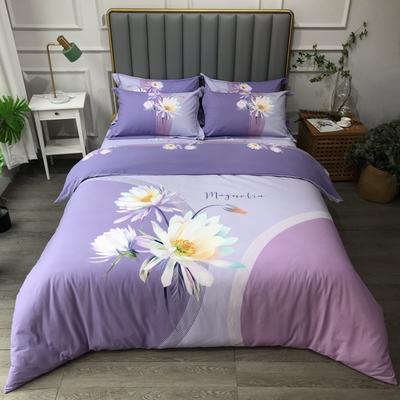 2021新款斜纹加厚全棉磨毛大版系列四件套(第四波) 1.2m床单款三件套 花香雨露紫