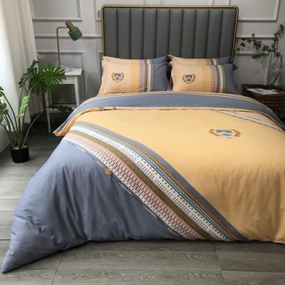 2021新款斜纹加厚全棉磨毛大版系列四件套(第四波) 1.2m床单款三件套 曼哈顿黄