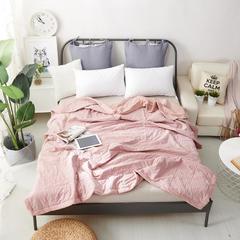 棉花填充全棉水洗棉夏被 150x200cm 小格粉灰