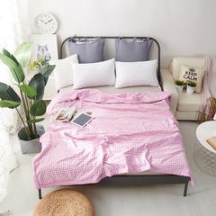 棉花填充全棉水洗棉夏被 200X230cm 小格浅紫