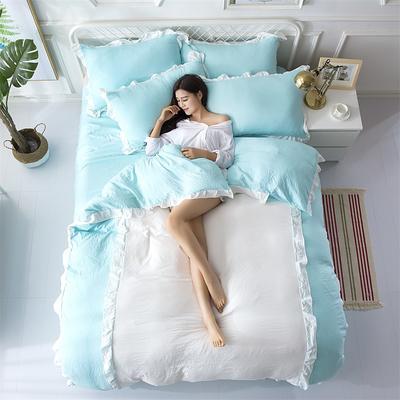 2018斜纹加厚水洗棉四件套-双拼和纯色 1.8m(6英尺)床 爱家(果绿+白)