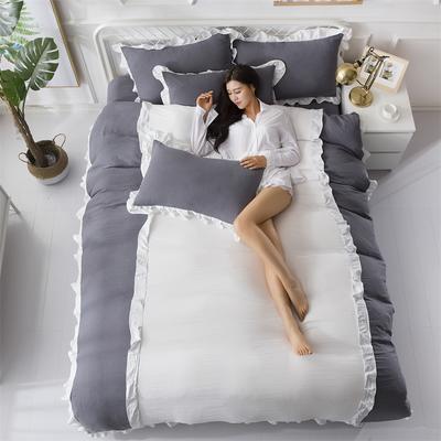 2018斜纹加厚水洗棉四件套-双拼和纯色 1.8m(6英尺)床 爱家(深灰+白)