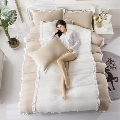 2018斜纹加厚水洗棉四件套-双拼和纯色 1.8m(6英尺)床 爱家(驼+白)