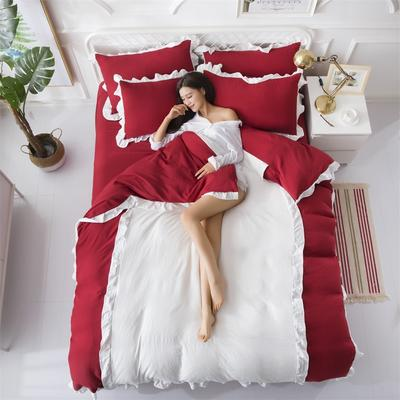 2018斜纹加厚水洗棉四件套-双拼和纯色 1.8m(6英尺)床 爱家(性感红+白)