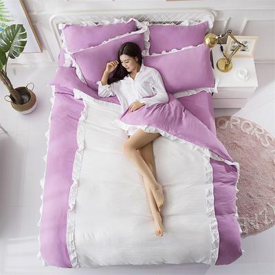 2018斜纹加厚水洗棉四件套-双拼和纯色 1.8m(6英尺)床 爱家(紫+白)