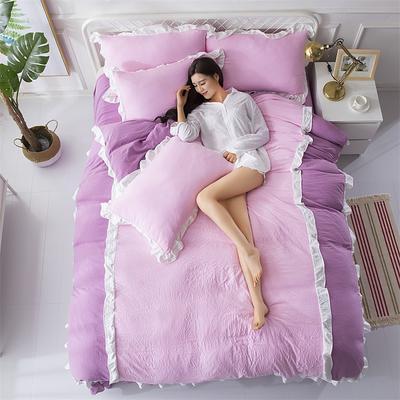 2018斜纹加厚水洗棉四件套-双拼和纯色 1.8m(6英尺)床 爱家(紫+粉)