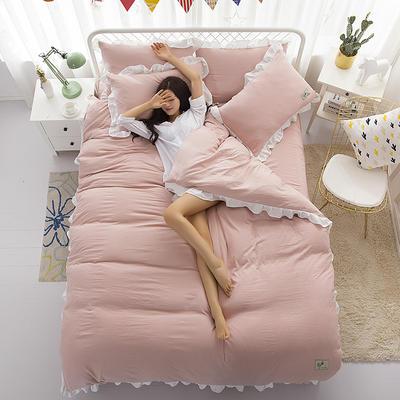 2018斜纹加厚水洗棉四件套-双拼和纯色 1.8m(6英尺)床 安静粉
