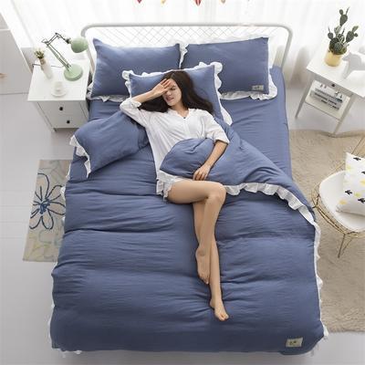2018斜纹加厚水洗棉四件套-双拼和纯色 1.8m(6英尺)床 绅士蓝