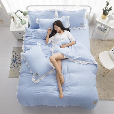 2018斜纹加厚水洗棉四件套-双拼和纯色 1.8m(6英尺)床 天空蓝