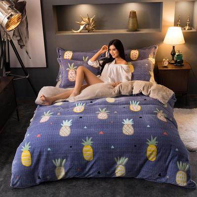 2018云貂绒四件套 1.2m床三件套 菠萝青春