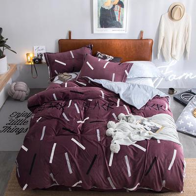 2018新款牛奶绒四件套 1.5m(5英尺)床 盛世风度-紫