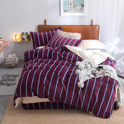 2018新款牛奶绒四件套 1.5m(5英尺)床 时尚先锋-红