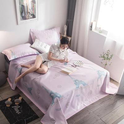 2019新款900d竹语冰感冰丝席可水洗床单款凉席三件套 160*250cm(小号两件套) 艾菲尔-藕粉