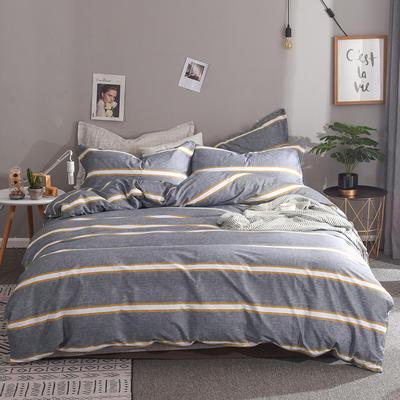2019新款全棉床单款四件套 1.2m床单款三件套 安吉里-灰