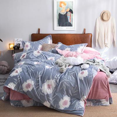 2019特价跑量款牛奶绒水晶绒四件套 1.5m(5英尺)床单款 缤纷如梦