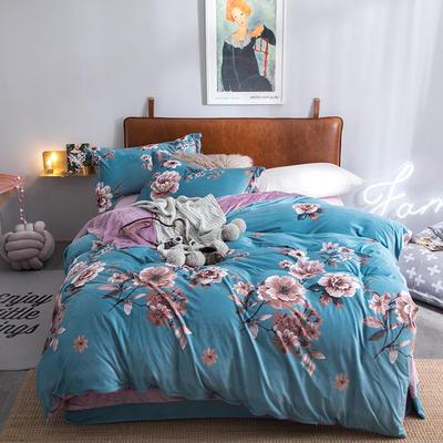 2019特价跑量款牛奶绒水晶绒四件套 1.5m(5英尺)床单款 芬芳旅程-蓝