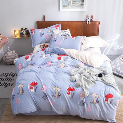 2019特价跑量款牛奶绒水晶绒四件套 1.5m(5英尺)床单款 蘑菇森林 -蓝