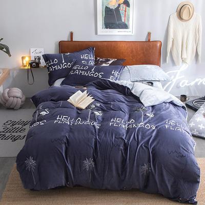 2019特价跑量款牛奶绒水晶绒四件套 1.8m(6英尺)床单款 夏日风情-灰