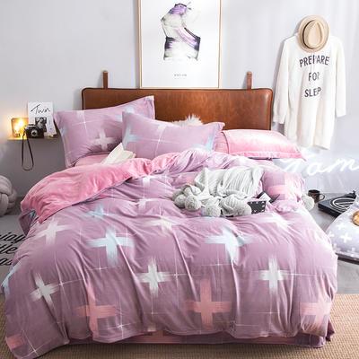 2019特价跑量款牛奶绒水晶绒四件套 1.5m(5英尺)床单款 雅姿风彩-豆沙