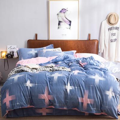 2019特价跑量款牛奶绒水晶绒四件套 1.5m(5英尺)床单款 雅姿风彩-蓝