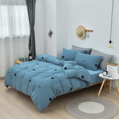 2019新款超柔莱卡针织棉四件套 1.5m(5英尺)床单款 爱心皇冠-蓝