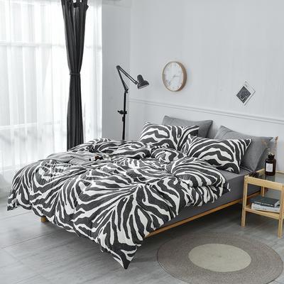 2019新款超柔莱卡针织棉四件套 1.8m(6英尺)床笠款 斑马纹
