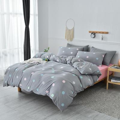 2019新款超柔莱卡针织棉四件套 1.5m(5英尺)床单款 波点圆圈