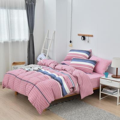 2019新款超柔莱卡针织棉四件套 1.5m(5英尺)床单款 简单生活-粉