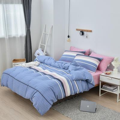 2019新款超柔莱卡针织棉四件套 1.5m(5英尺)床单款 简单生活-蓝