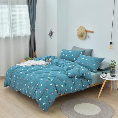 2019新款超柔莱卡针织棉四件套 1.5m(5英尺)床单款 晴语-蓝