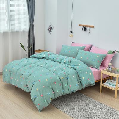 2019新款超柔莱卡针织棉四件套 1.5m(5英尺)床单款 晴语-浅绿