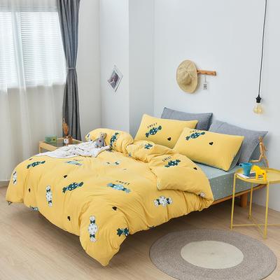 2019新款超柔莱卡针织棉四件套 1.5m(5英尺)床单款 糖果-黄