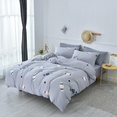2019新款超柔莱卡针织棉四件套 1.5m(5英尺)床单款 糖果-灰