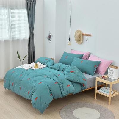 2019新款超柔莱卡针织棉四件套 1.5m(5英尺)床单款 小辣椒-绿