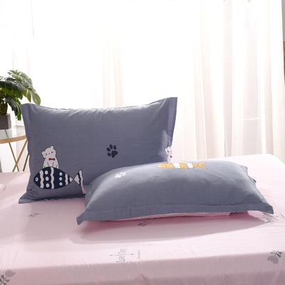 2020新款全棉单品枕套 48cmX74cm/个 爱吃鱼