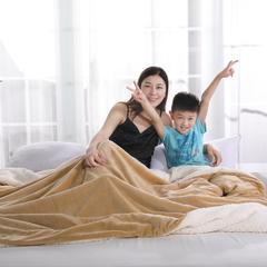 2018新款秋冬云貂绒毛毯  毛毯毯子 100x120cm 驼色
