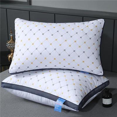 2019新款-磨毛绗绣枕芯(小方格) 低枕二只装