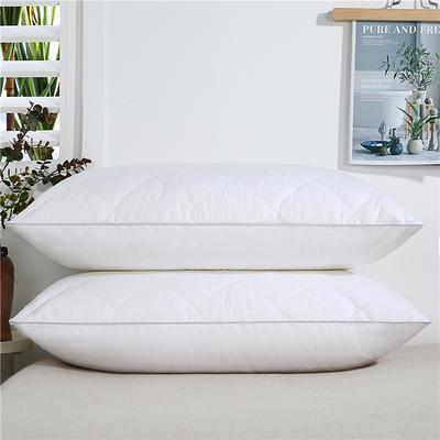 2020新款-全棉双线绗缝枕 单边中枕750克白48x74/只